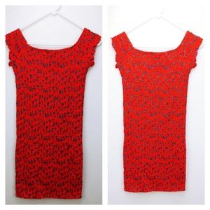 🆕bright red Topshop shirred bodycon dress